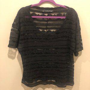 Patterson J. Kincaid Sheer Black Lace Top